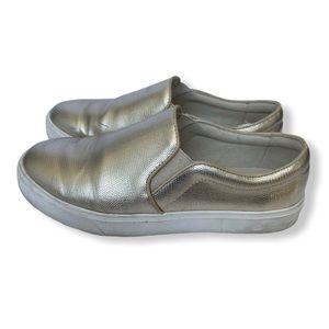 3/$30 Aldo Slip On Sneakers Loafers Gold Snakeskin